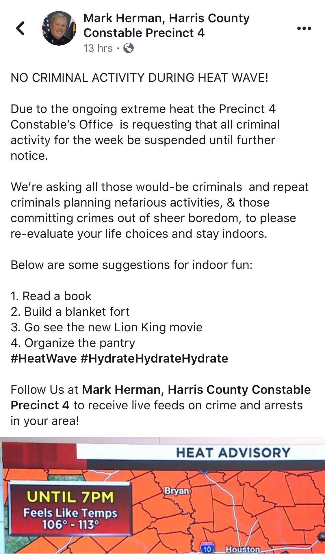 Constables tweet that it's just too damn hot for crime
