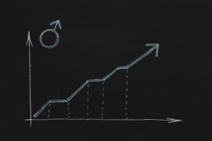 Male gender symbol with growing graph on chalkboard