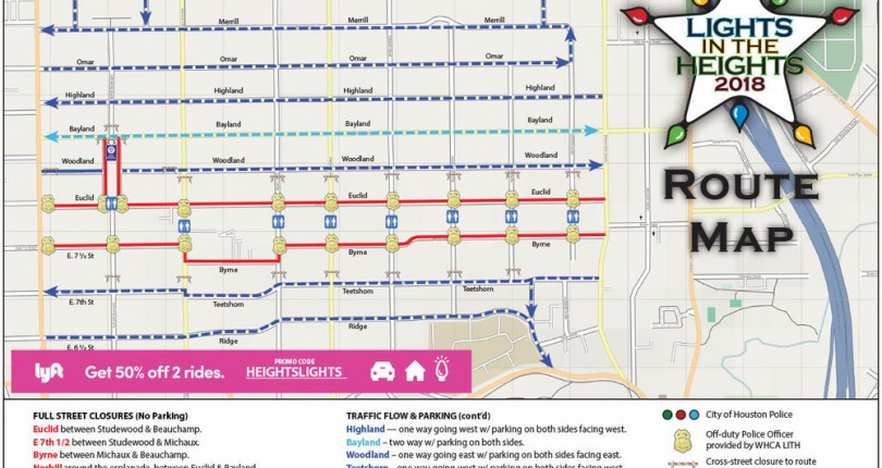 Lights in the Heights Route Map   Woodland Heights   Houston