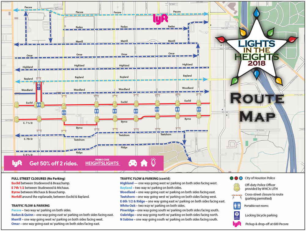 Lights in the Heights Route Map